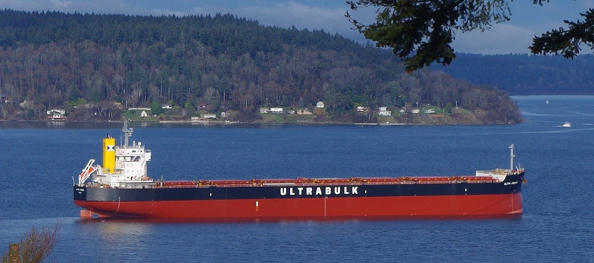 Grain ship waiting in Puget Sound just off Point Ruston.